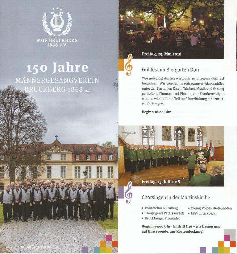 150 Jahre Männergesangverein Bruckberg 1868